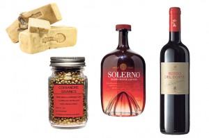 Da sinistra: Dipasquale Formaggi Ragusano DOP, coriandolo Epices Roellinger, liquore Solerno, Tasca d'Almerita Rosso del Conte