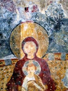 La Chiesa di Sant'Ambrogio alla Rienna, affresco – archivio Archeoclub d'Italia sede di Montecorvino Rovella