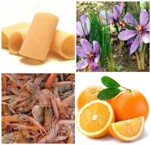 Paccheri di Gragnano con scampi e arance profumati allo zafferano, gli ingredienti