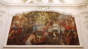 il refettorio della Certosa di San Lorenzo, il dipinto ad olio raffigurante le Nozze di Cana