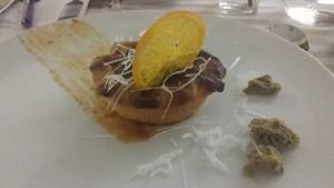 tartelletta al cioccolato Valrhona e lenticchie rosse di Castelluccio