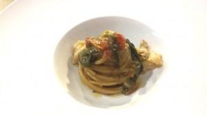 Sorso 23, gli spaghetti con scampo, broccoli e pomodori secchi