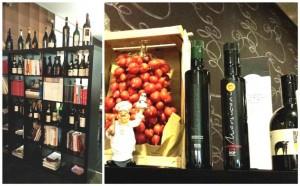 Pensando a Te, lo scaffale dei vini e alcuni prodotti in esposizione