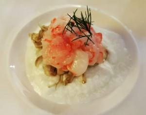 Antica Osteria Marconi, crema di bufala carciofi bianchi e gamberi rossi del Mediterraneo