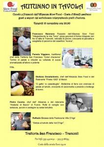 L'autunno in tavola con i tre chef dell'Alleanza dei Cuochi e Pizzaioli Slow Food della Costa d'Amalfi