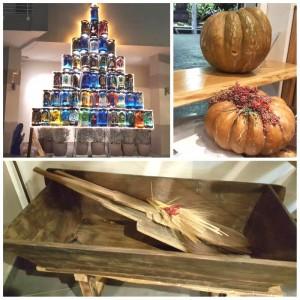 Madia, la madia originale da cui prende il nome il locale e l'installazione esterna a tema natalizio creata da Salvatore Iannuzzi