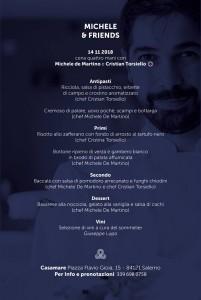 Lo stellato Cristian Torsiello a Casamare per una serata con Michele de Martino, il menu